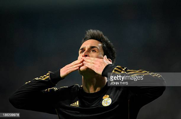 Real Madrid's midfielder Jose Maria Callejon celebrates scoring during the the UEFA Champions League Group E football match between Ajax and Real...
