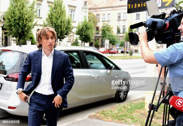 Real Madrid's midfielder Luka Modric arrives at the Osijek courthouse on June 13 2017 to testify in a multimillioneuro corruption trial against...