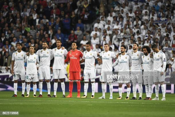Real Madrid's Moroccan defender Achraf Hakimi Real Madrid's Croatian midfielder Luka Modric Real Madrid's French forward Karim Benzema Real Madrid's...