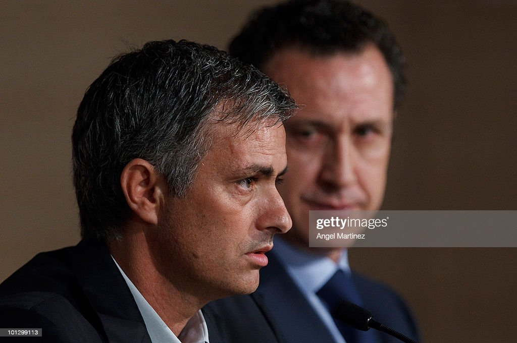 Real Madrid's new coach Jose Mourinho and Jorge Valdano general director of Real Madrid hold a press conference at Estadio Santiago Bernabeu on May...