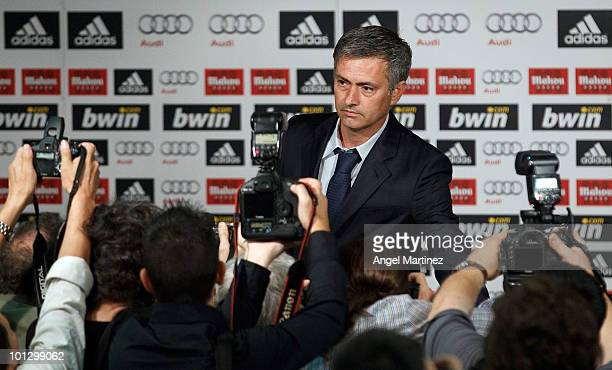 Real Madrid's new coach Jose Mourinho holds a press conference at Estadio Santiago Bernabeu on May 31 2010 in Madrid Spain