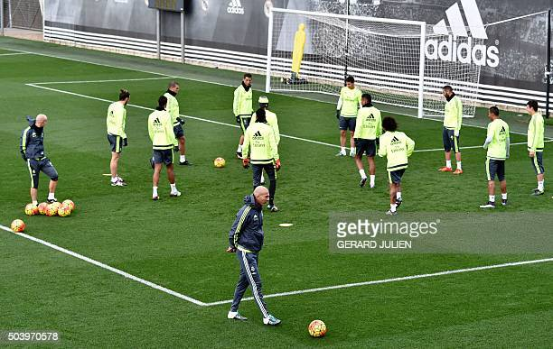 Real Madrid's new French coach Zinedine Zidane takes part in a training session at the Valdebebas training ground in Madrid on January 8 2016 AFP...