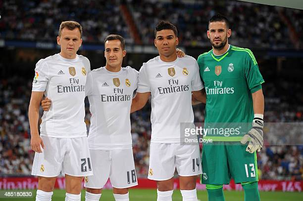 Real Madrid's new signings Denis Cheryshev Lucas Vazquez Carlos Casemiro and Kiko Casilla lineup for the Santiago Bernabeu Trophy match between Real...