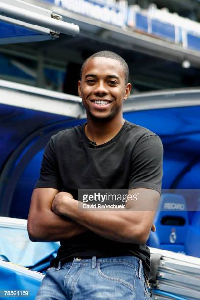 Real Madrid's player Robson de Souza 'Robinho' gives a interview to Real Madrid TV after a team training session at Santiago Bernabeu's stadium on...