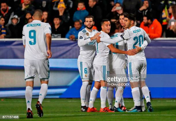 Real Madrid's players celebrate after Luka Modric scored during the UEFA Champions League Group H match between Apoel FC and Real Madrid on November...