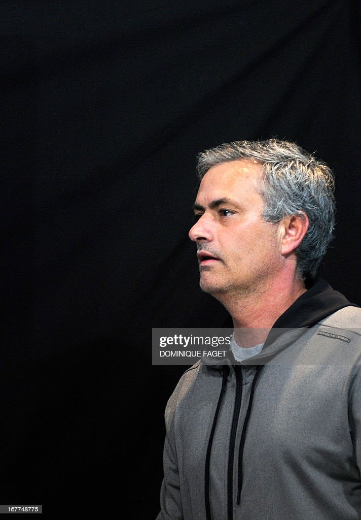 Real Madrid's Portuguese coach Jose Mourinho arrives for a press conference in Madrid on April 29, 2013, on the eve of the UEFA Champions League football match Real Madrid CF vs Borussia Dortmund.