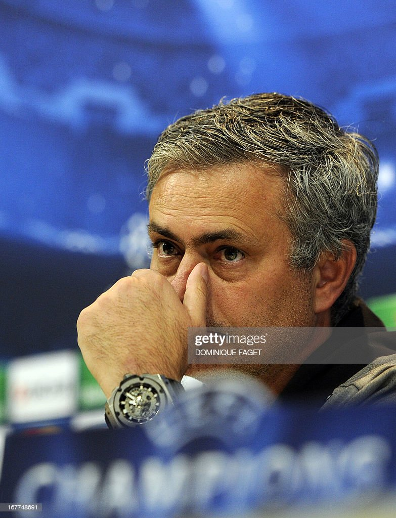 Real Madrid's Portuguese coach Jose Mourinho gestures during a press conference in Madrid on April 29, 2013, on the eve of the UEFA Champions League football match Real Madrid CF vs Borussia Dortmund.