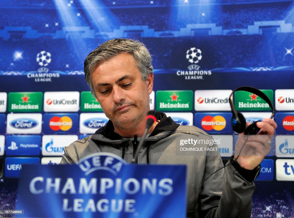 Real Madrid's Portuguese coach Jose Mourinho gives a press conference in Madrid on April 29, 2013, on the eve of the UEFA Champions League football match Real Madrid CF vs Borussia Dortmund. AFP PHOTO/DOMINIQUE FAGET
