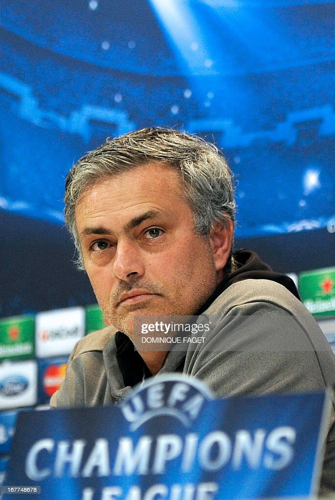Real Madrid's Portuguese coach Jose Mourinho gives a press conference in Madrid on April 29, 2013, on the eve of the UEFA Champions League football match Real Madrid CF vs Borussia Dortmund.
