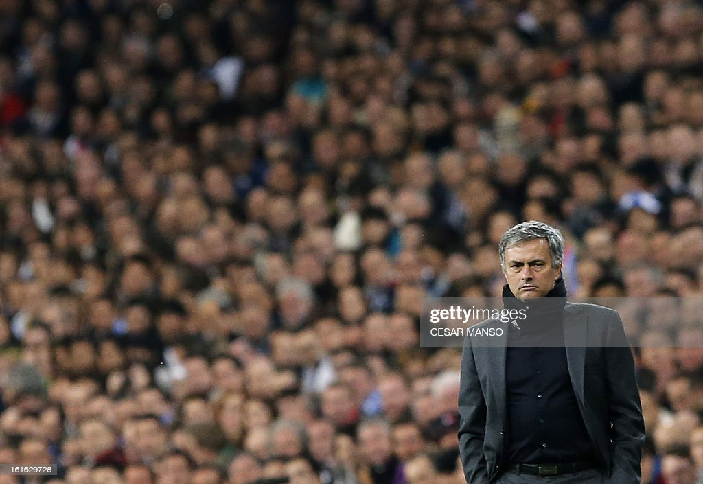 Real Madrid's Portuguese coach Jose Mourinho reacts during the UEFA Champions League round of 16 first leg football match Real Madrid CF vs Manchester United FC at the Santiago Bernabeu stadium in Madrid on February 13, 2013. The match ended in a 1-1 draw.