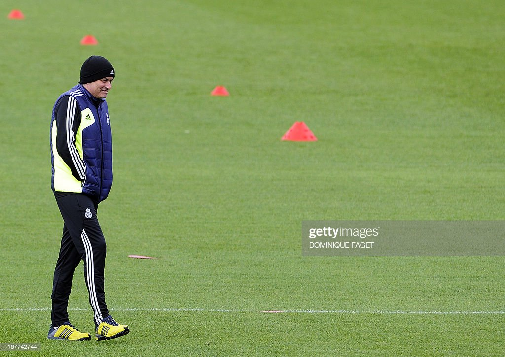 Real Madrid's Portuguese coach Jose Mourinho takes part in a training session at the Valdebebas training ground in Madrid on April 29, 2013, on the eve of the UEFA Champions League football match Real Madrid CF vs Borussia Dortmund.