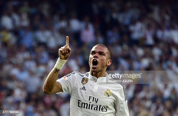 Real Madrid's Portuguese defender Pepe celebrates after scoring during the Spanish league football match Real Madrid CF vs Valencia CF at the...