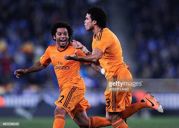 Real Madrid's Portuguese defender Pepe celebrates his goal during the Spanish league football match RCD Espanyol vs Real Madrid CF on January 12 2014...