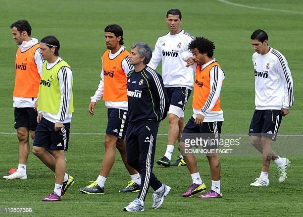 Real Madrid's Portuguese defender Ricardo Alberto Carvalho Real Madrid's German midfielder Mesut Ozil Real Madrid's German midfielder Sami Khedira...
