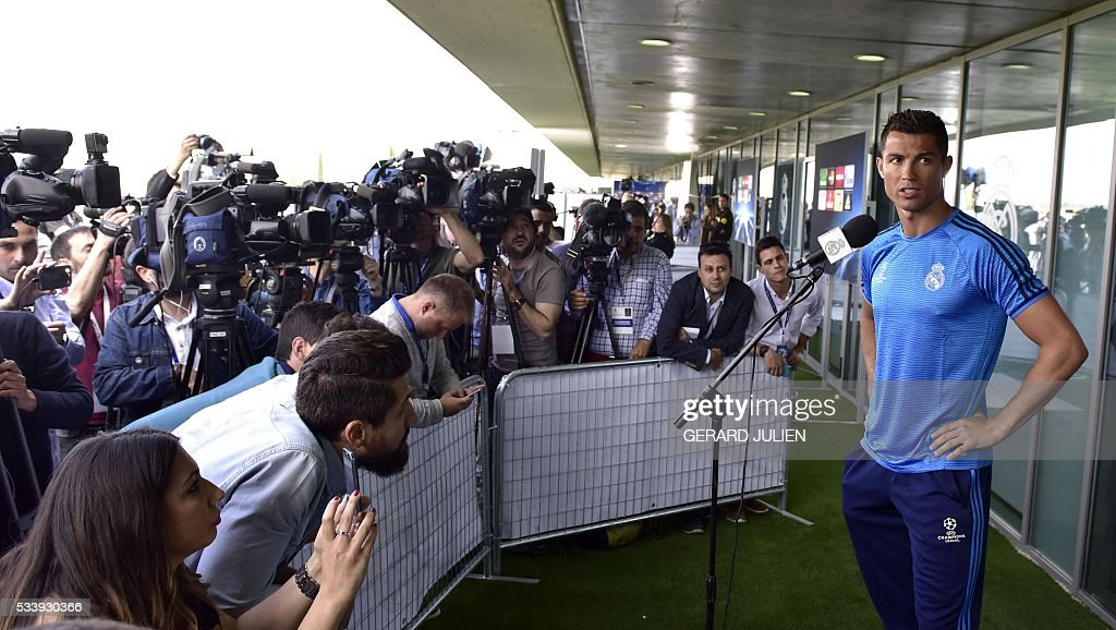 Real Madrid's Portuguese forward Cristiano Ronaldo addresses journalists during the club's Open Media Day at Real Madrid sport city in Madrid on May 24, 2016. / AFP / GERARD