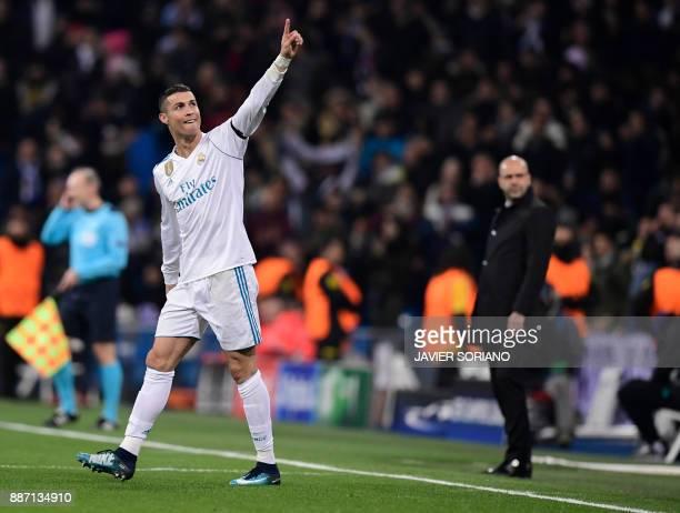 Real Madrid's Portuguese forward Cristiano Ronaldo celebrates a goal during the UEFA Champions League group H football match Real Madrid CF vs...
