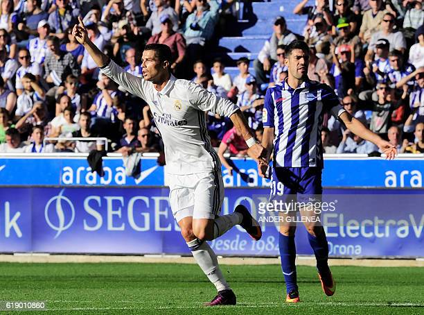 Real Madrid's Portuguese forward Cristiano Ronaldo celebrates after scoring his team's second goal during the Spanish league football match between...