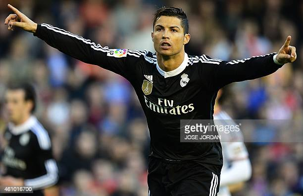 Real Madrid's Portuguese forward Cristiano Ronaldo celebrates his goal during the Spanish league football match Valencia CF v Real Madrid CF at the...