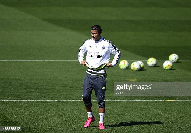 Real Madrid's Portuguese forward Cristiano Ronaldo gestures during a training session at Valdebebas Sport City in Madrid on September 18 2015 AFP...