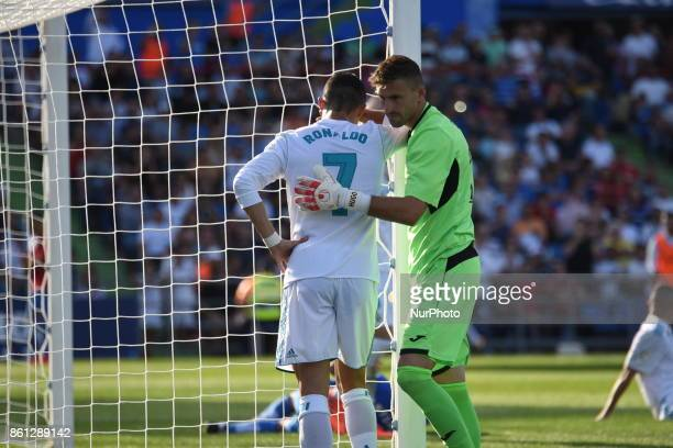 Real Madrid's Portuguese forward Cristiano Ronaldo gestures during the Spanish league football match Getafe CF vs Real Madrid CF at the Col Alfonso...