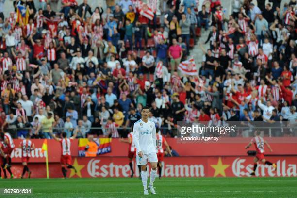Real Madrid's Portuguese forward Cristiano Ronaldo is seen during the Spanish league football match Girona FC vs Real Madrid CF at the Municipal de...