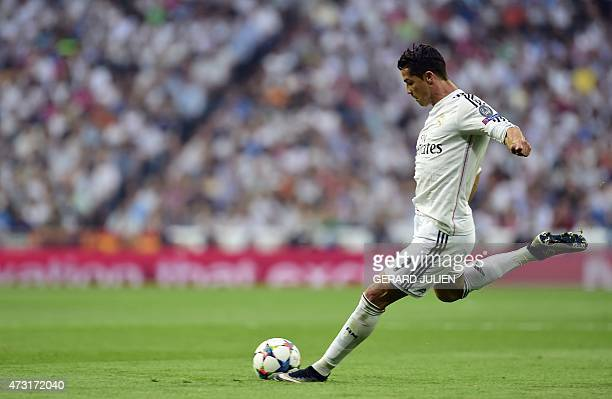 Real Madrid's Portuguese forward Cristiano Ronaldo kicks the ball during the UEFA Champions League semifinal second leg football match Real Madrid FC...