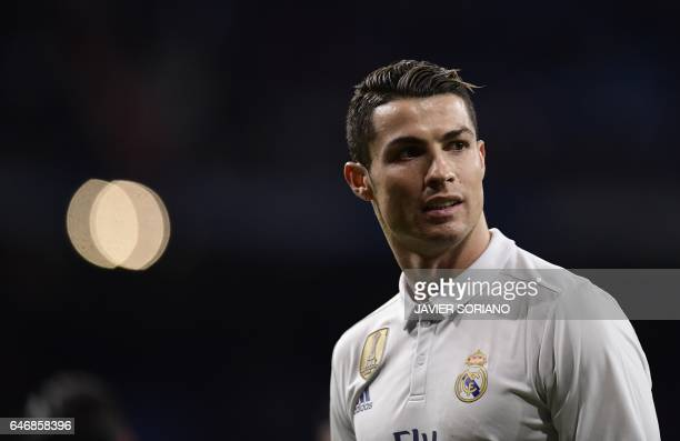 Real Madrid's Portuguese forward Cristiano Ronaldo looks on during the Spanish league football match Real Madrid CF vs UD Las Palmas at the Santiago...