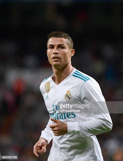 Real Madrid's Portuguese forward Cristiano Ronaldo looks on during the Spanish league football match Real Madrid CF vs SD Eibar at the Santiago...