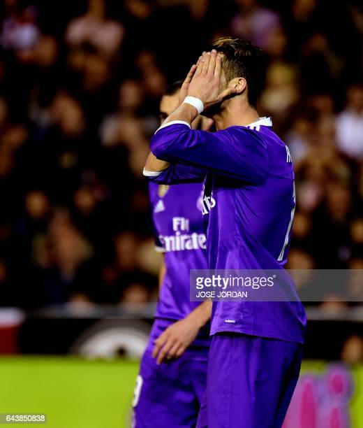 Real Madrid's Portuguese forward Cristiano Ronaldo misses an attempt on goal during the Spanish league football match Valencia CF vs Real Madrid CF...