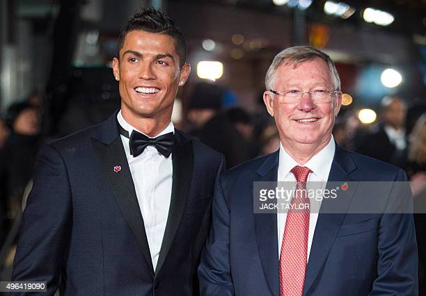 Real Madrid's Portuguese forward Cristiano Ronaldo poses with former Manchester United manager Sir Alex Ferguson at the world premiere of the film...