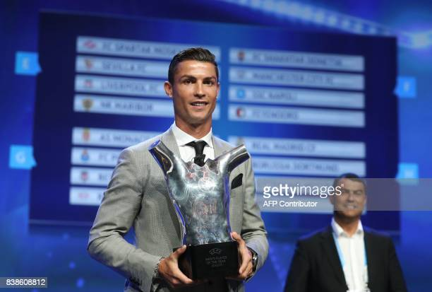 TOPSHOT Real Madrid's Portuguese forward Cristiano Ronaldo poses with the trophy after he was awarded the title of 'Best Men's Player in Europe' at...