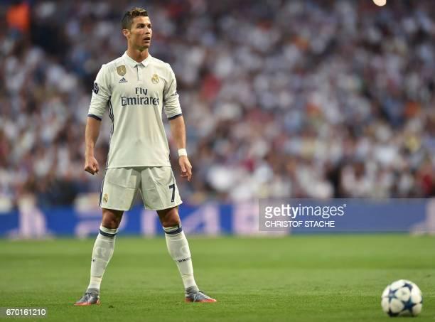 Real Madrid's Portuguese forward Cristiano Ronaldo prepares for a free kick during the UEFA Champions League quarterfinal second leg football match...