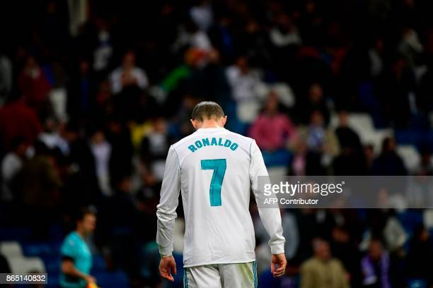 Real Madrid's Portuguese forward Cristiano Ronaldo reacts at the end of the Spanish league football match Real Madrid CF vs SD Eibar at the Santiago...