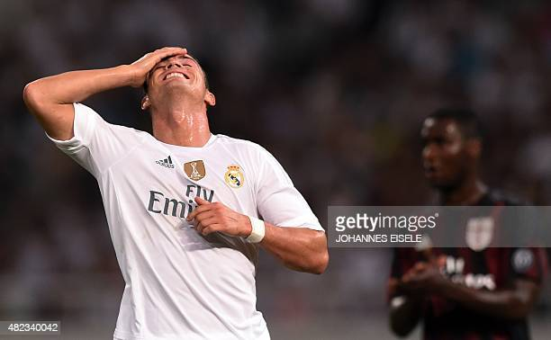 Real Madrid's Portuguese forward Cristiano Ronaldo reacts during the International Champions Cup football match between AC Milan and Real Madrid in...