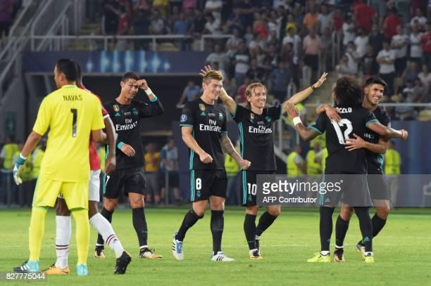 Real Madrid's Portuguese forward Cristiano Ronaldo Real Madrid's German midfielder Toni Kroos Real Madrid's Croatian midfielder Luka Modric Real...