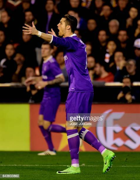 Real Madrid's Portuguese forward Cristiano Ronaldo shouts during the Spanish league football match Valencia CF vs Real Madrid CF at the Mestalla...