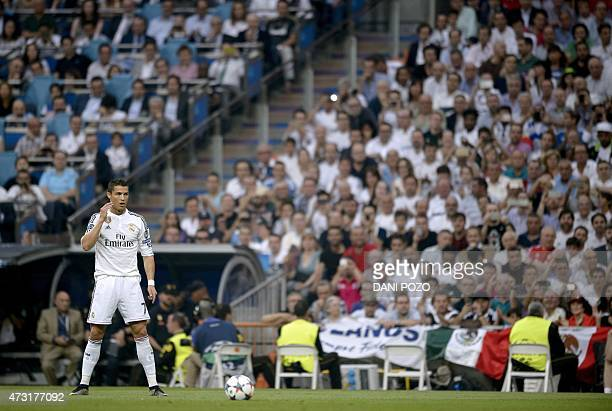 Real Madrid's Portuguese forward Cristiano Ronaldo waits to kick a ball during the UEFA Champions League semifinal second leg football match Real...