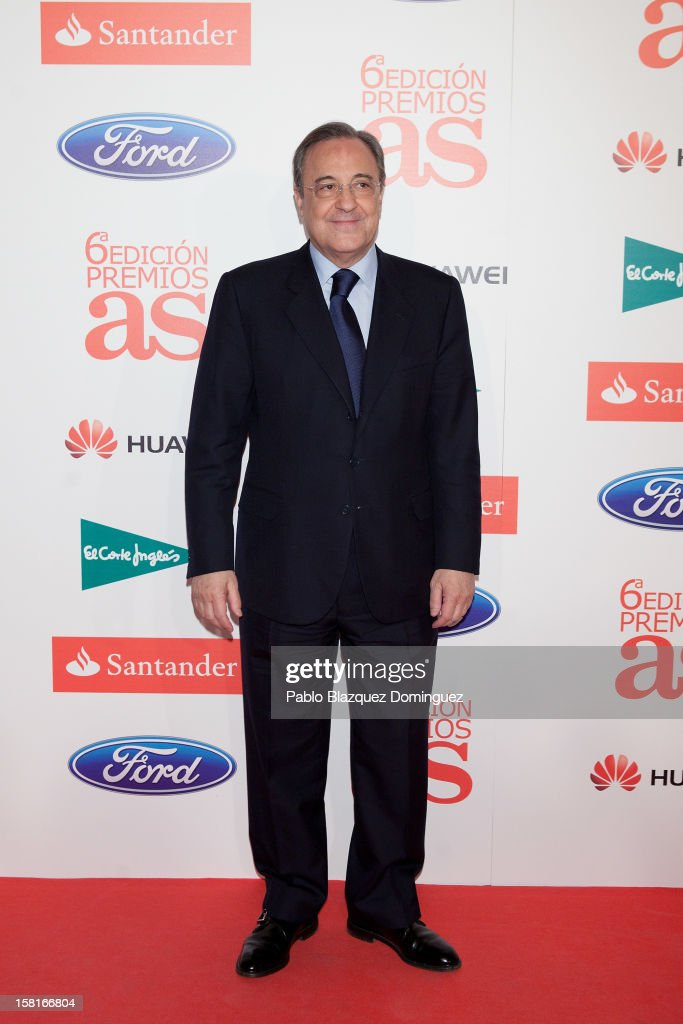 Real Madrid's President <a gi-track='captionPersonalityLinkClicked' href=/galleries/search?phrase=Florentino+Perez&family=editorial&specificpeople=567584 ng-click='$event.stopPropagation()'>Florentino Perez</a> attends 'As Del Deporte' Awards 2012 at The Westin Palace Hotel on December 10, 2012 in Madrid, Spain.