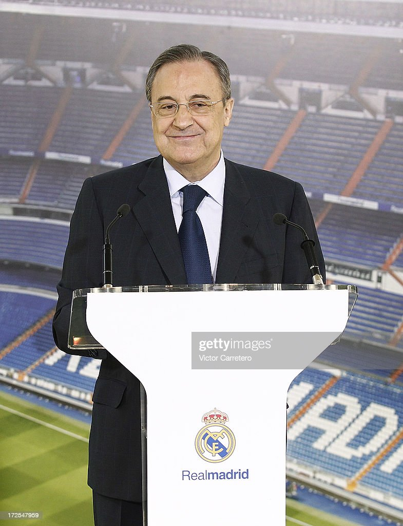 Real Madrid's president Florentino perez looks on during the presentation of Real Madrid's new player Isco at the Santiago Bernabeu stadium on July 3, 2013 in Madrid, Spain.