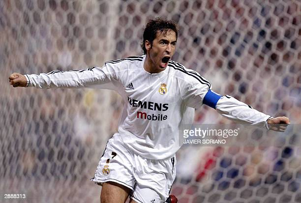 Real Madrid's Raul Gonzalez celebrates after scoring his first goal during their Spanish King's Cup cuarter final first leg match at Santiago...
