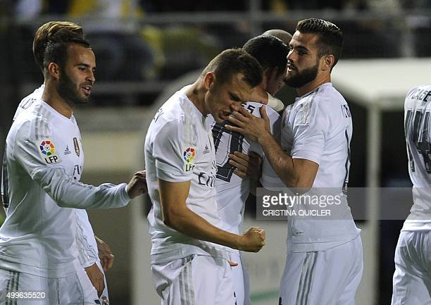 Real Madrid's Russian midfielder Denis Cheryshev celebrates after scoring during the Spanish Copa del Rey football match Cadiz CF vs Real Madrid at...