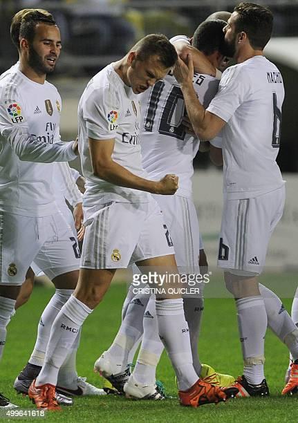 Real Madrid's Russian midfielder Denis Cheryshev celebrates after scoring during the Spanish Copa del Rey football match Cadiz CF vs Real Madrid at...