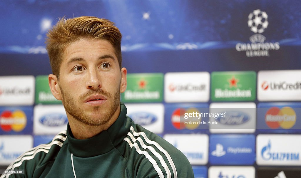 Real Madrid's Sergio Ramos attends a press conference on the eve of the UEFA Champions League football match Real Madrid CF vs Borussia Dortmund on April 29, 2013, in Madrid, Spain.