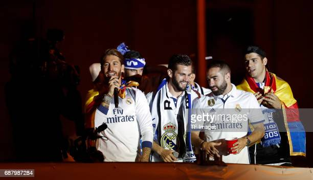 Real Madrid´s Sergio Ramos Nacho Fernández Dani Carvajal and Álvaro Morata arrive at the city hall of Madrid to offer the league cup to Madrid mayor...