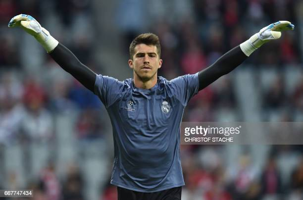 Real Madrid's Spain goalkeeper Ruben Yanez streches prior to the UEFA Champions League 1st leg quarterfinal football match FC Bayern Munich v Real...