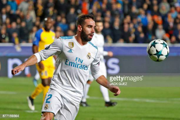 Real Madrid's Spanish defender Dani Carvajal advances with the ball during the UEFA Champions League Group H match between Apoel FC and Real Madrid...