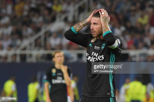 Real Madrid's Spanish defender Sergio Ramos looks on during the UEFA Super Cup football match between Real Madrid and Manchester United on August 8...