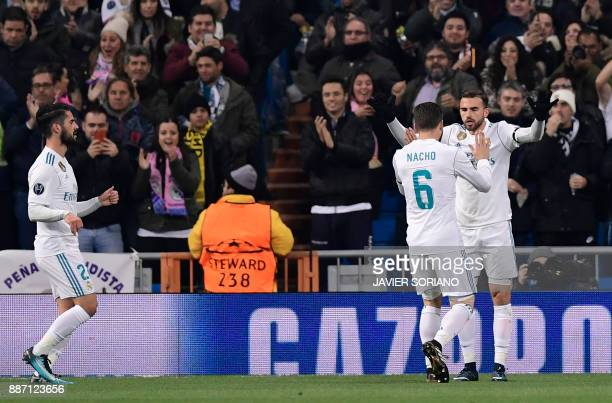 Real Madrid's Spanish forward Borja Mayoral celebrates the opening goal during the UEFA Champions League group H football match Real Madrid CF vs...