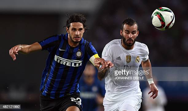 Real Madrid's Spanish forward Jese and Inter Milan's Italian defender Andrea Ranocchia vie for the ball during the International Champions Cup...