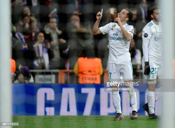 Real Madrid's Spanish midfielder Lucas Vazquez celebrates a goal during the UEFA Champions League group H football match Real Madrid CF vs Borussia...